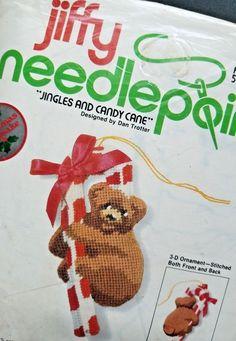 Sunset Designs Jiffy Needlepoint Xmas Ornament Kit Jingles Bear Candy Cane 5003 #SunsetDesignsJiffy
