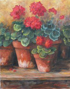 Geraniums, I love these flowers. Grandma Bessie always had them in her planter by her front door.