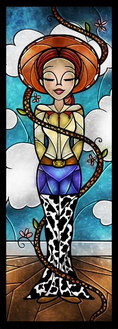 """""""The Rootinest Tootinest Cowgirl in the Wild Wild West"""" Jessie Stained Glass Art"""