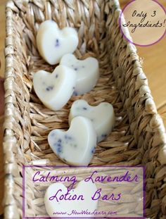 DIY Calming Lavender Lotion Bars made with only 3 simple, healthy ingredients! Know what is going on and into your kids bodies - simple, healthy living. www.HowWeeLearn.com