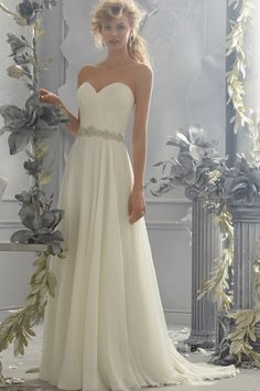 2014 Sweetheart A Line Wedding Dress Pleated Bodice With Detachable Straps Beaded Chiffon USD 129.99 SPJ8Z2YYA - SeasonMall.com