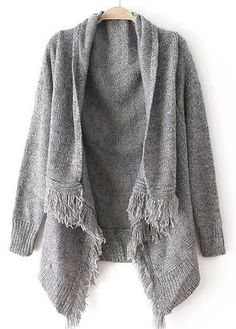 Woman Baggy Sweater Cardigans with Tassel Decoration -