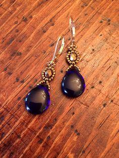 Cobalt blue beaded earrings blue earrings cobalt blue bead