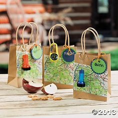 Camping favor bags @orientaltrading - use old maps. Great for #geocaching #party