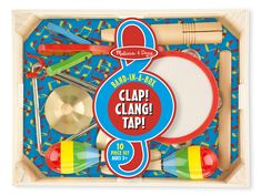 Band-in-a-Box - Clap! Clang! Tap! : Band in a Box musical instrument set has everything preschoolers need to form a kids marching band, launch a solo career, or just enjoy exploring music and sounds! The set includes a tambourine, cymbals, maracas, clacker, tone blocks, and a triangle, plus a sturdy wooden storage crate. Strike up the band and spark a lifelong love of music with this unique wooden set of hand-crafted wooden instruments.