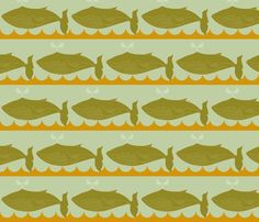 whales_light_green_and_orange fabric by holli_zollinger on Spoonflower - custom fabric