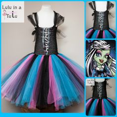 Monster High - Frankie Stein Inspired Tutu Dress  0-1ys £20 1-2yrs £23 2-3yrs £25 3-4yrs £27 4-5yrs £29 5-6yrs £32 6-7yrs £35 7-8yrs £37  For more information or to order visit https://www.facebook.com/LuluinaTutu