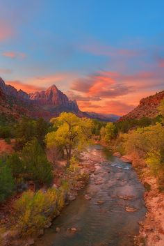 """The Fires of Heaven"" Watchman and the Virgin River at Zion National Park, Utah."