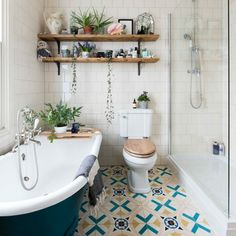 Bathroom makeover with upcycled vanity unit and matching blue floor Love this mix, the tiles are a b Blue Bathroom Interior, Modern Bathroom, Small Bathroom, Bathroom Ideas, Bathroom Designs, Blue Bathrooms, Bathroom Grey, Bathroom Showers, Bathroom Plants