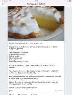 Suurlemoen Meringue Tert South African Recipes, Ethnic Recipes, Cheese Cakes, Sweet Tarts, Meringue, Sweet Stuff, Kos, My Recipes, Spinach