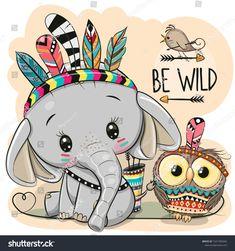 Vector stock (royalty-free) on Tribal Elephant Cute Cartoon Owl Cartoon Cartoon, Cute Cartoon Drawings, Cute Animal Drawings, Animal Sketches, Cute Cartoon Pictures, Cartoon Illustrations, Cartoon Characters, Cute Elephant Drawing, Cute Baby Elephant