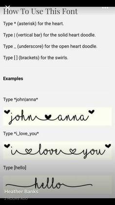 MF I love glitter font commands
