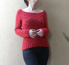 Lucy's Diamonds is a scoop neck pullover seamlessly worked in the round from the top down, shaped with short rows.