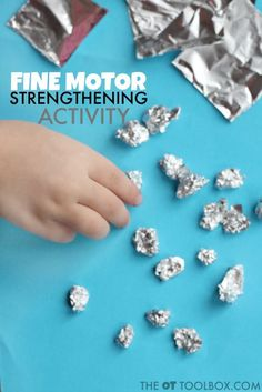 Use foil to develop fine motor strength with this foil activity for kids it's perfect for strengthening the hands for a better pencil grasp. Toddler Fine Motor Activities, Motor Skills Activities, Gross Motor Skills, Fine Motor Activity, Activities For Babies, Preschool Fine Motor Skills, Science Activities, Summer Activities, Physical Activities