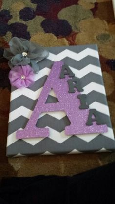 Grey and Purple Nursery Decor Purple Nursery Decor, Pink Chevron Nursery, Nursery Ideas Girl Grey, Nursery Letters Girl, Nursery Name Art, Baby Room Decor, Elephant Nursery Girl, Nursery Grey, Wooden Letter Decor