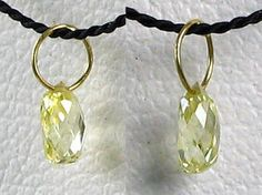 One bead of NATURAL Canary CONFLICT FREE Diamond 18K GOLD PENDANT .22 cts 6568M - Premium Bead