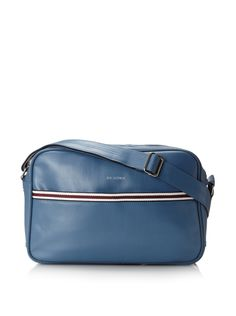 Ben Sherman Mens Iconic Flight Bag (Coronet Blue) Sleek design accented with striped trim, 1 exterior pocket, 1 zip and 2 slip interior pockets, adjustable strap Men