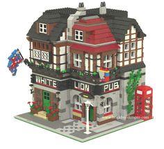 Lego Custom Modular Building– White Lion English Pub Like 10182 10197 Lego City, Lego Knights, Lego Projects, Minecraft Projects, Minecraft Designs, Minecraft Ideas, Lego Modular, Pub Set, Lego Design