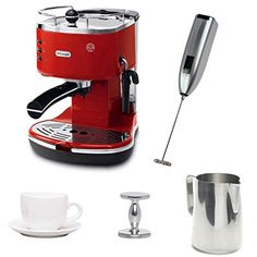 DeLonghi Espresso Maker with Espresso Tamper, Frothing Pitcher, Milk Frother, and Cup and Saucer ECO310R