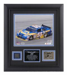 WALTRIP, MICHAEL FRAMED 8x10 PHOTO w/AUTO PLATE & TIRE - Mounted Memories Certified - Framed NASCAR Photos, Plaques and Collages by Sports Memorabilia. $167.00. Makes a Great Gift!. This Michael Waltrip collectible features an 8x10 photo, an autographed card and an actual piece of tire from the #55 NAPA Toyota Camry. Limited Edition of 155. This product is officially licensed by NASCAR and comes with an individually numbered; tamper evident hologram from Mounted Memori...