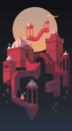Monument Valley 2 by Waneella Isometric Art, Isometric Design, Pixel Art, Monument Valley Game, Monuments, Fantasy Castle, Tecno, Game Design, Design Art