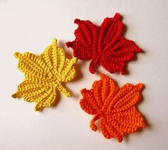 Crocheted Maple Leaves small Red Orange and by GoldenLucyCrafts, $7.20