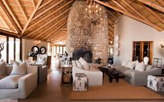 Kwandwe in the center of South Africa's malaria-free area near Grahamstown. The reserve is a member of the exclusive Relais & Chateaux portfolio. Game Reserve South Africa, Elephant Camp, River Lodge, Private Games, Fish Camp, Bathroom Interior Design, Lodges, Living Area, House