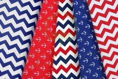 Red & navy marine cotton fabric set / Zestaw marynarski
