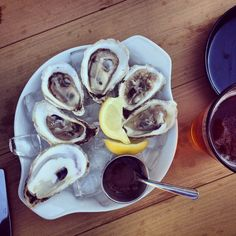 """""""Dark and Stormy is delicious. Lived the oysters too. Psst: Oysters are price during happy hour! Oysters, Happy Hour, Breakfast, Food, The South, Meal, Eten, Meals, Morning Breakfast"""