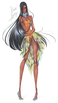 Princesas Fashion por Guillermo Meraz - Pocahontas.