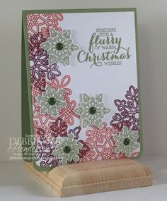 Create with Connie & Mary Saturday Blog Hop. Stampin' Up! Flurry of Wishes for non-traditional colors. Debbie Henderson, Debbie's Designs.