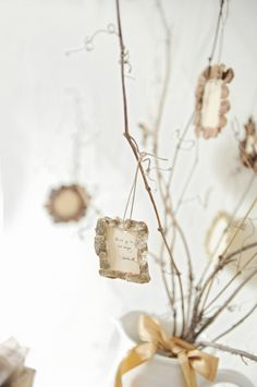DIY ornament idea turning wedding wishes into little frames // photo by Andrea Dozier