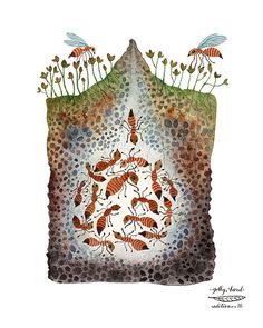 ant colony giclee print by GollyBard on Etsy, $36.00