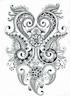 There is another craze is to draw patterns, flowers, mandala patterns in ink. Then you can even color them using color pencils. You can say this is like adult drawing at its best! Mandalas Painting, Mandalas Drawing, Zentangle Drawings, Zentangle Patterns, Mandala Art, Zentangles, Henna Patterns, Indian Mandala, Colouring Pages