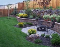 wall for tiered yard - landscaping plants