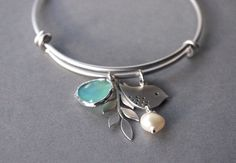 Bangle Bracelet in Silver - Silver Plated Charm Bracelet - One Size - Silver Bangle - Modern Bracelet - Mother's Day Gift