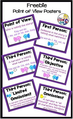 Freebie: Set of 6 Posters for Point of View Using Literature. Also included in my complete Point of View set.