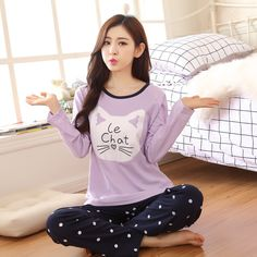 Free Shipping Women Pyjamas Cotton Clothing Long Tops Set Female Pyjamas  Sets Night Suit Sleepwear Women Home Clothes Ladies Set-in Pajama Sets from  Women s ... 87695b47f
