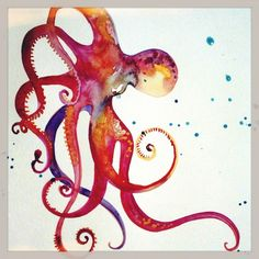 octopus watercolor painting by Watercolors of Snow Seychelle