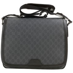 Pre-owned Gucci Unisex Handbag Supreme Canvas Messenger Grey & Black... ($940) ❤ liked on Polyvore featuring bags, messenger bags, unisex messenger bag, gray messenger bag, padded messenger bag, grey messenger bag e canvas messenger bag