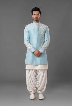 Light Blue Embroidered Sherwani – Panache Haute Couture