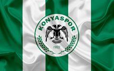 Download wallpapers Konyaspor, Turkish football club, football, Konyaspor emblem, logo, green silk flag, Konya, Turkey, Turkish Football Championship