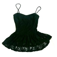 finn & clover Lacy Peplum Beautiful black lace peplum top. Perfect as lingerie or music festival wear. Size medium, never worn! Please feel free to ask questions, post comments, or make an offer! Finn & clover  Tops Crop Tops