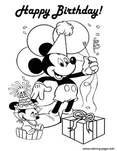 Happy Birthday Mickey Disney Coloring Pages Printable And Book To Print For Free Find More Online Kids Adults Of