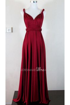 dark red wrap twisted v neck long pleated bridesmaid dress