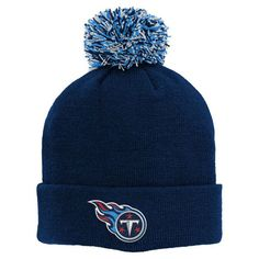 73f7523d2 Youth Tennessee Titans Navy Basic Cuffed Knit Hat With Pom