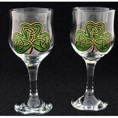 Celtic Glass Designs set of 2 Hand Painted Wine Glasses in an Irish Shamrock Design.