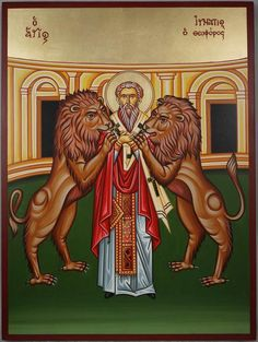 High quality hand-painted Orthodox icon of Saint Ignatius of Antioch. BlessedMart offers Religious icons in old Byzantine, Greek, Russian and Catholic style. Ignatius Of Antioch, St Ignatius, Catholic Art, Roman Catholic, Mark The Evangelist, Paint Icon, Byzantine Art, Religious Icons, Orthodox Icons