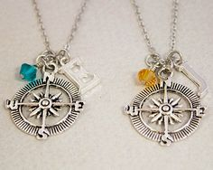 Two Best Friends Necklaces Compass Charm by SometimesTwice, $25.00