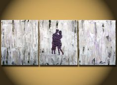 Couple In Love, Couple Kissing, Couples,Couple,Romantic Original LARGE Painting 48 purple silver gray heavy texture canvas Purple abstract